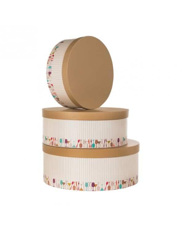 Boîte ronde en carton décor rayures beige et marron