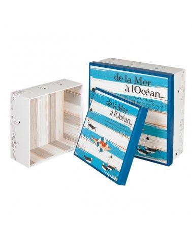 Boîte carrée en carton décor DE LA MER A L'OCEAN