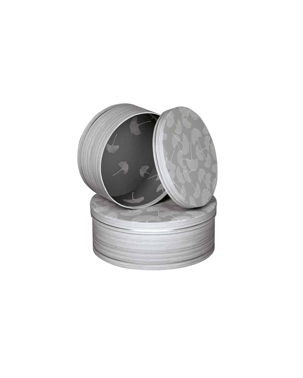 Boîte ronde décor bois feuilles de Ginkgo et ligne argentée PM