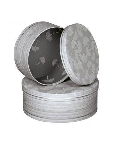 Boîte ronde décor bois feuilles de Ginkgo et ligne argentée petit modèle