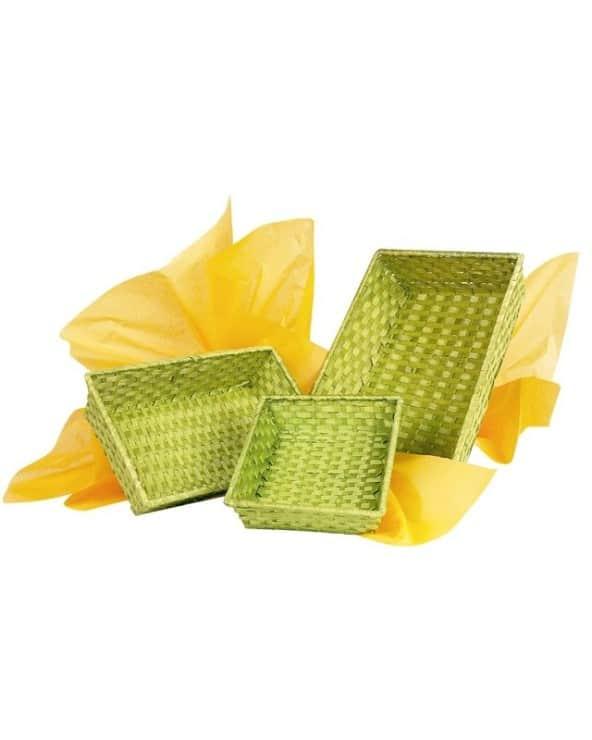 Corbeille bambou rectangle vert anis petit modèle