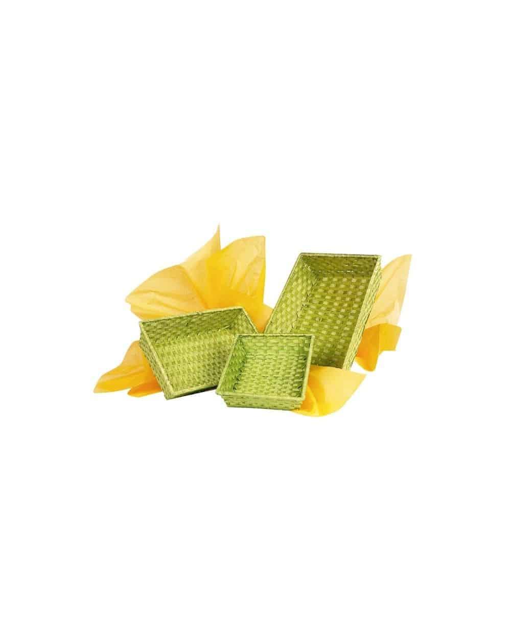 Corbeille bambou rectangle vert anis MM