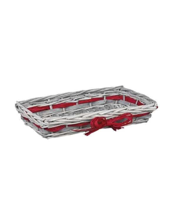 Corbeille rectangle osier et bois coloris gris avec raphia rouge petit modèle
