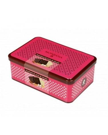 Boîte métal Rose de 50 carrés de chocolat 200g