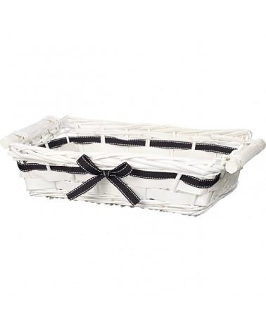 Corbeille blanche et ruban noir grand modèle