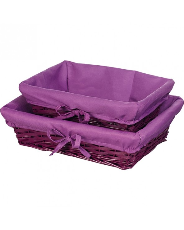 Corbeille en osier tissu violet