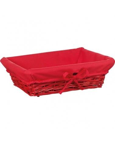 Corbeille osier et tissu rouge grand modèle