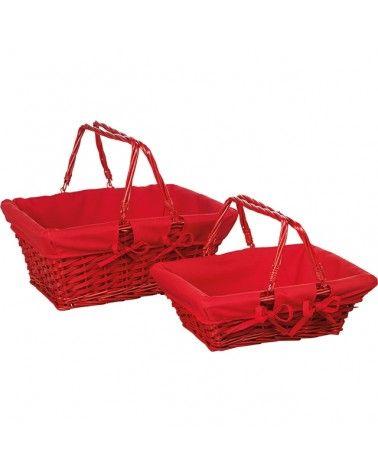 Panier osier tissu rouge avec anses modèle moyen