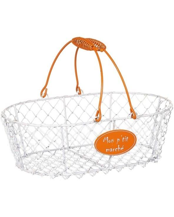 Panier en métal blanc et orange Mon P'tit Marché modèle moyen
